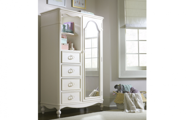 Legacy Classic Harmony by Wendy Bellissimo Mirrored Door Chest - Antique Linen White-466