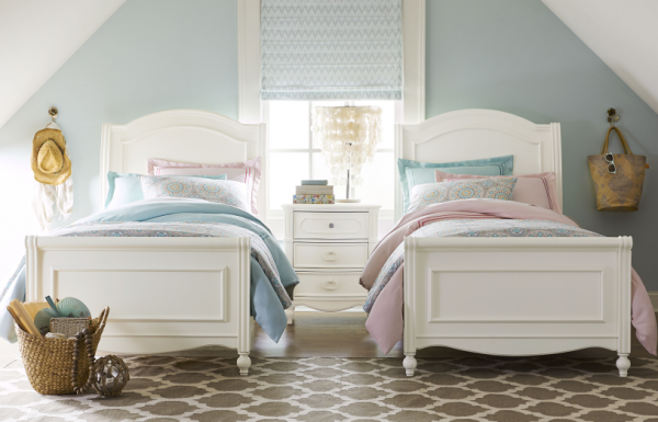Legacy Classic Harmony by Wendy Bellissimo Sleigh Bed, Twin - Antique Linen White-0
