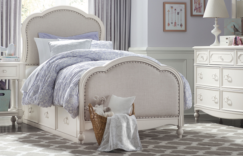 Legacy Classic 4 Pc. Harmony by Wendy Bellissimo Twin Upholstered Bedroom  Set - Antique Linen White