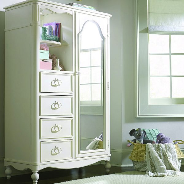 Legacy Classic Harmony by Wendy Bellissimo Mirrored Door Chest - Antique Linen White-2326