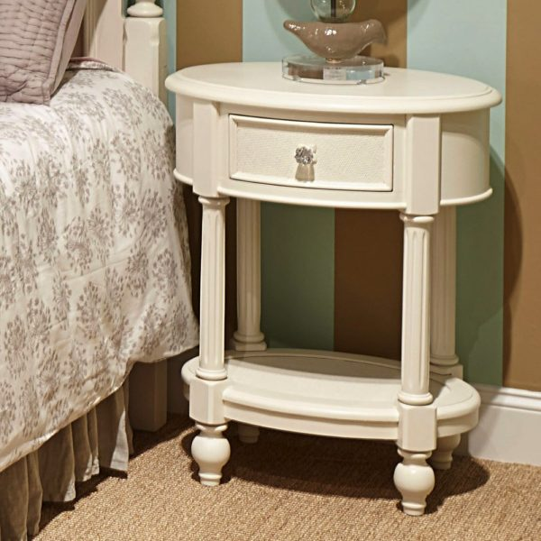 Legacy Classic Harmony by Wendy Bellissimo Oval Night Stand - Antique Linen White-2401