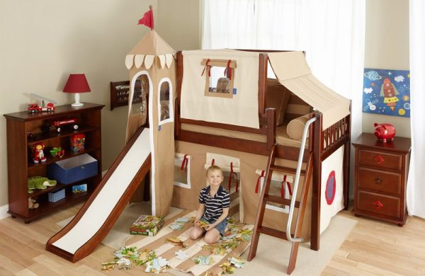 Low Loft Castle Bed with Slide Brown-0