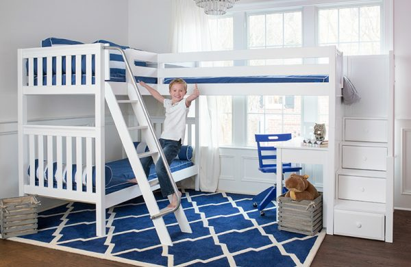 Corner Bunk with Desks and Blue Chair White Slatted-0
