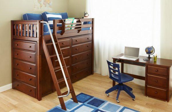 Storage Loft Bed Chestnut-0